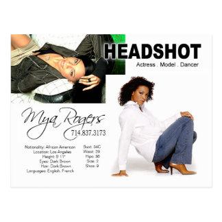 Carte Postale Headshot pour l'acteur du model |