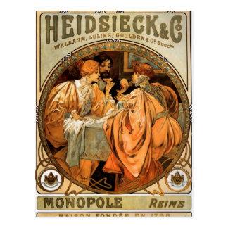 Carte Postale Heidsieck par Alphonse Mucha