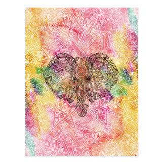 Carte Postale Henné tiré par la main de Watecolor d'éléphant