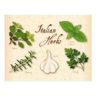Carte Postale Herbes italiennes, Basil, origan, persil, ail