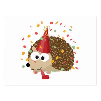 Carte Postale Hérisson de partie de confettis