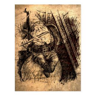 Carte postale heureuse de gnome (sépia)