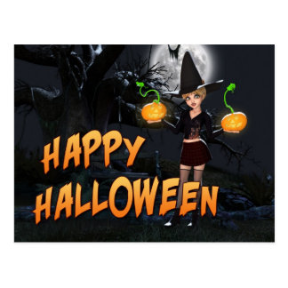 Carte postale heureuse de Halloween Skye