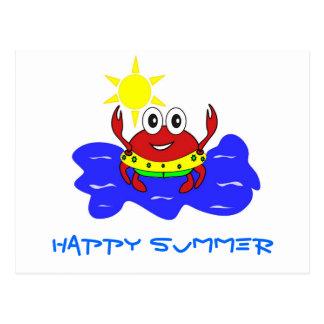 carte postale heureuse d'été de crabe