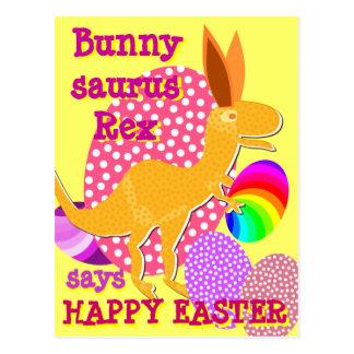 Carte postale heureuse drôle de Bunnysaurus Rex