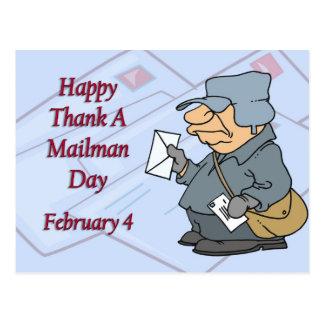 Carte Postale Heureux remerciez facteur jour le 4 février