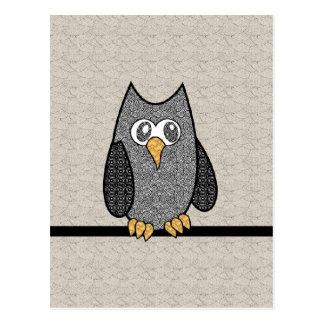 Carte Postale Hibou de patchwork, noir et blanc avec l'arrière -