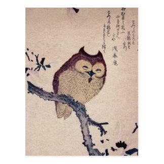 Carte Postale Hibou de sourire japonais mignon