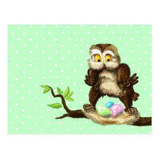 Carte Postale Hibou heureux de Pâques