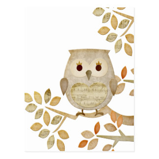Carte Postale Hibou musical d'arbre