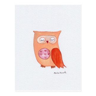 Carte Postale Hibou orange