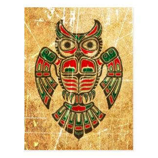 Carte Postale Hibou rayé et porté d'esprit de Haida