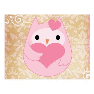 Carte Postale Hibou rose mignon avec le coeur