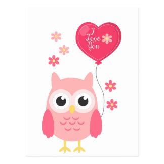 Carte Postale Hibou rose mignon de Valentines je t'aime
