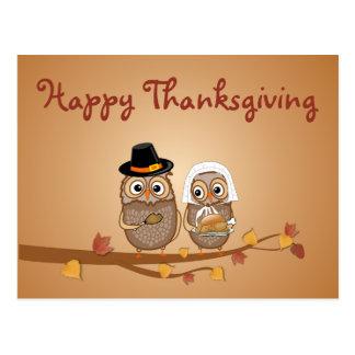 Carte Postale Hiboux lunatiques de thanksgiving