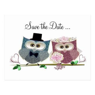 Carte Postale Hiboux mignons de mariage