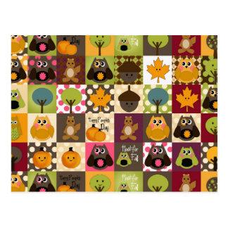 Carte Postale Hiboux rustiques d'automne/automne