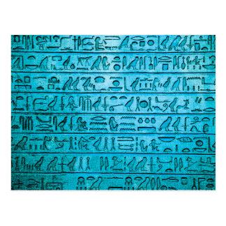Carte Postale Hiéroglyphes égyptiens antiques bleus