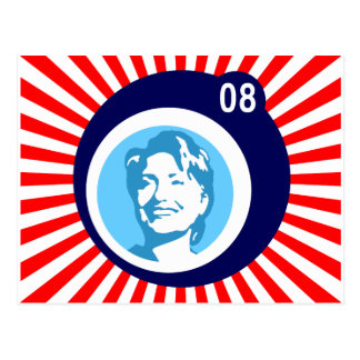 Carte Postale hillary Clinton : bulles bleues et rayons rouges :