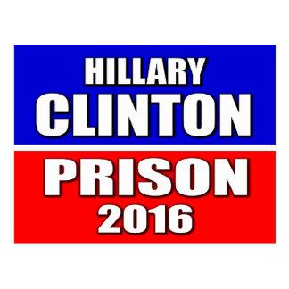 """CARTE POSTALE """"HILLARY CLINTON POUR LA PRISON 2016 """""""