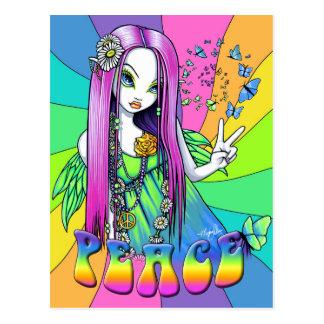 Carte postale hippie de fée d'arc-en-ciel de paix