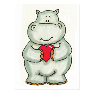 Carte Postale Hippopotame avec le coeur