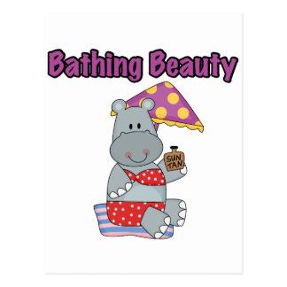 Carte Postale Hippopotame baignant le T-shirts et les cadeaux de