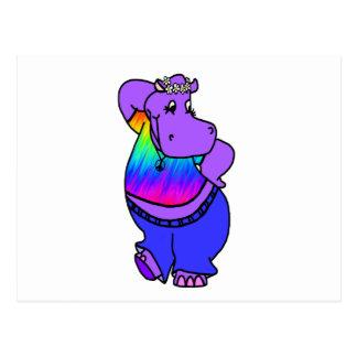 Carte Postale Hippopotame de hippie