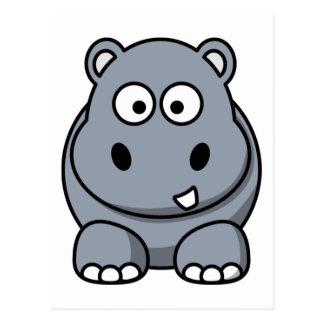 Carte Postale Hippopotame drôle mignon