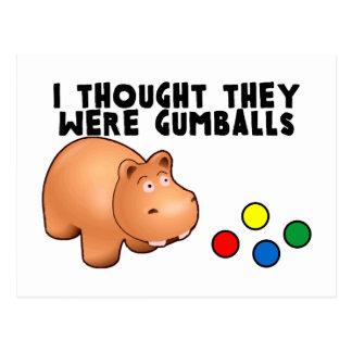 Carte Postale Hippopotame Gumballs