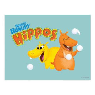 Carte Postale Hippopotame jaune et orange