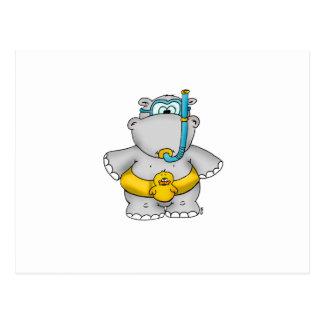 Carte Postale Hippopotame mignon avec un pneu de flottement et