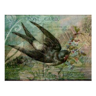 Carte Postale Hirondelle avec des fleurs