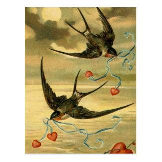Carte Postale Hirondelles de grange vintages de Valentine avec
