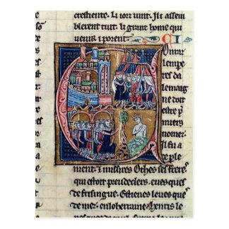 """Carte Postale Historiated parafent """"C"""" dépeignant Conrad III"""