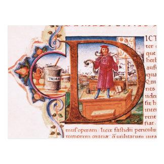 """Carte Postale Historiated parafent """"D"""" dépeignant un apothicaire"""