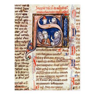 "Carte Postale Historiated parafent ""S"" dépeignant pape Gregory"