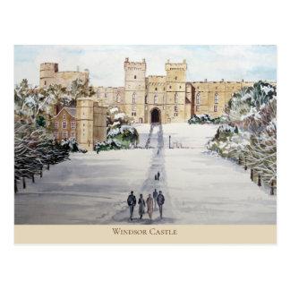 Carte Postale Hiver à la peinture de paysage de château de