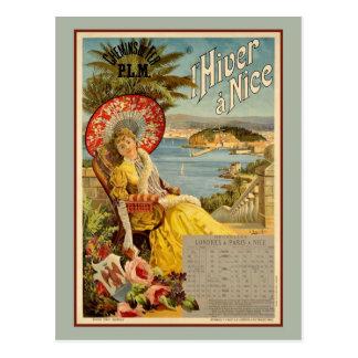 Carte Postale hiver de 1890s dans Nice l'annonce de voyage de la