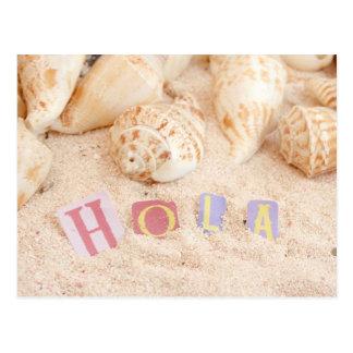 Carte Postale Hola, bonjour dans l'Espagnol sur une plage
