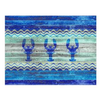 Carte Postale Homards côtiers rustiques de bleu marine