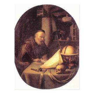 Carte Postale Homme de Gerrit Dou interrompu à son écriture