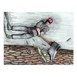 Carte Postale Homme de hache aucune tronçonneuse de stihl