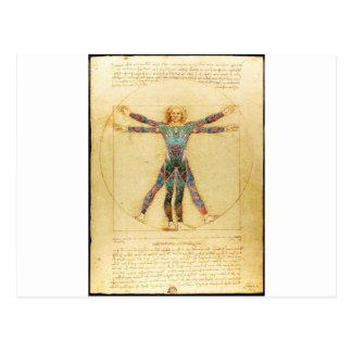 Carte Postale Homme de Vitruvian de da Vinci avec des tatouages