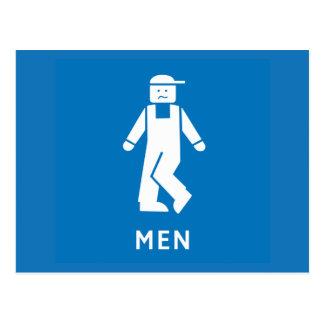Carte Postale Hommes de toilette publique, signe, la Californie,