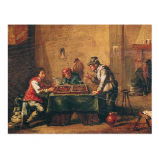Carte Postale Hommes jouant au backgammon dans une taverne