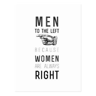 Carte Postale hommes vers la gauche parce que les femmes ont