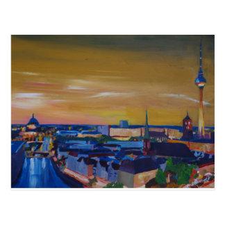 Carte Postale Horizon de Berlin Allemagne au crépuscule