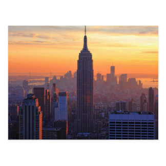 Carte Postale Horizon de NYC : Coucher du soleil d'orange