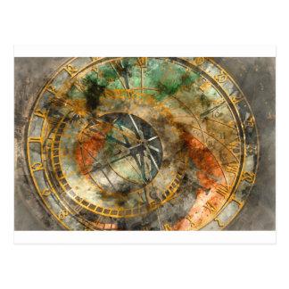Carte Postale Horloge astronomique dans la République Tchèque de